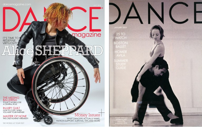Image Description1: Alice Sheppard in black leather jacket and metal studded boots balances on the tip of her footplate as she twists sideways to frame the rims of her wheelchair with her fingertips. Her face is in profile calmly focused. Her red and orange highlighted hair pops with the red stripe in her wheels and the red Dance Magazine title. Headline on the magazine cover reads: It's time to redefine virtuosity: Alice Sheppard. Photo by: Jayme Thornton. Image Description 2: Black and white Dance Magazine cover from January 2003. Homer Avila balances his body with his upper body to hover his one leg just off the ground as Andrea Basile stands wide legged and hooks her hand under Homer's arm. She looks down at him as he appears to be floating upwards towards her.