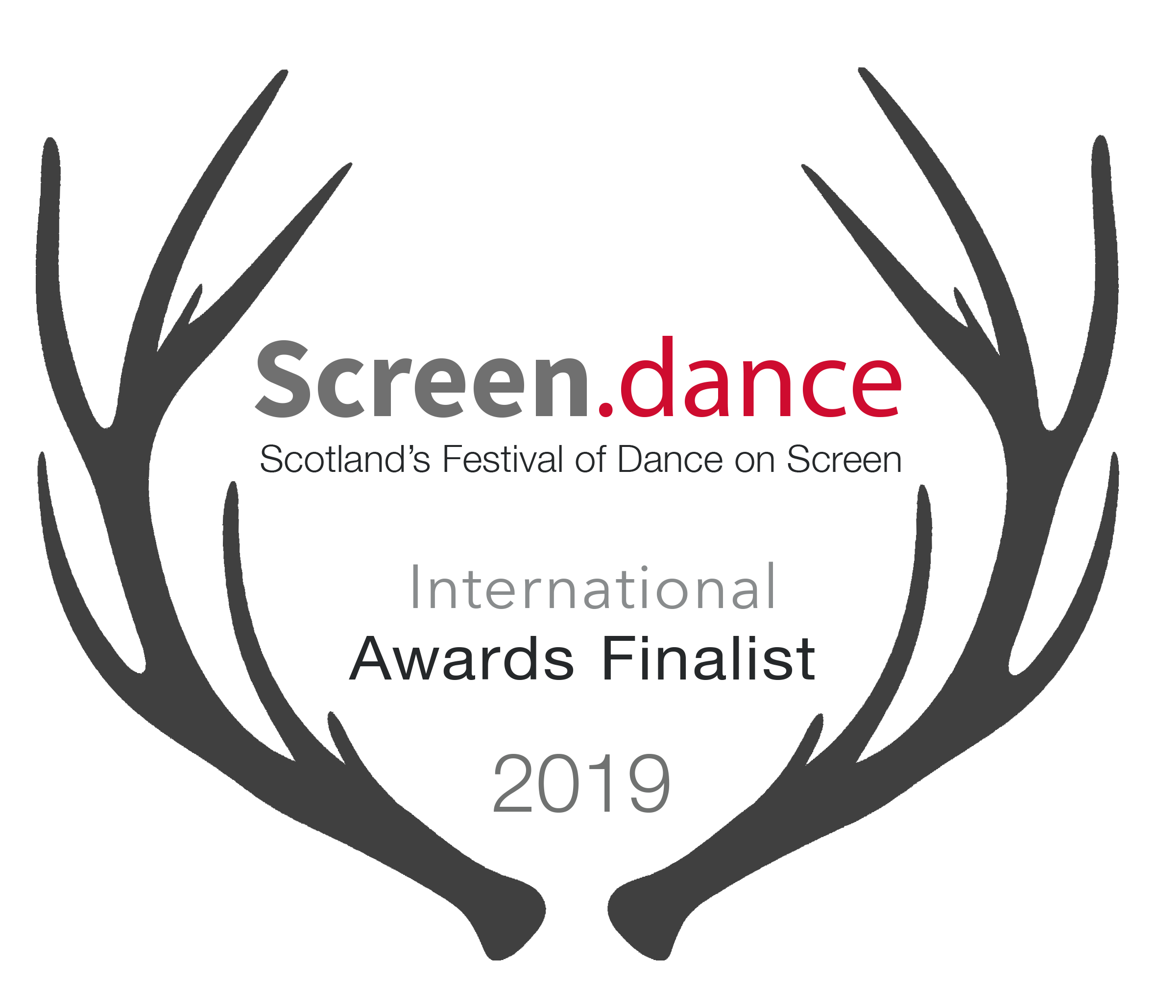 Antlers frame text that reads: Screen dance, Scotland's international