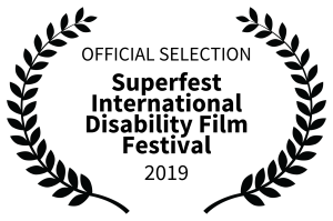 Superfest Film Laurel. Text reads: Official Selection Superfest International Disability Film Festival 2019